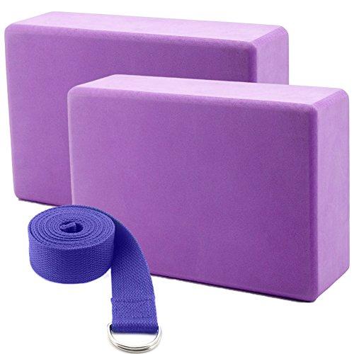Yoga Set mit 2 Yogablöcke und 1 Yoga Gurt Aus Metall D-Ringen, High-Density EVA Schaum, Gute Zubehör Ideal für Yoga Pilates, Fitness, Yoga-Übung, Körperhaltung (violett)