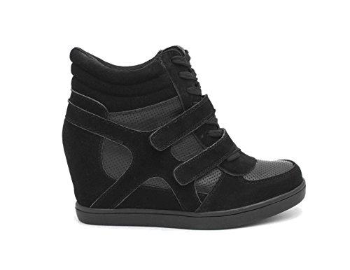Baskets Compensées Filles Montantes - Chaussure Sneakers Bi-Matière Urban Talon Haut - Tennis Casuel en Daim Scratch Lacet-PU Suède - Chic Mode Tendance,Noir,39 EU