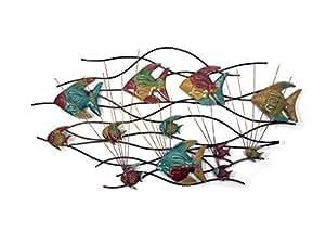 Nouveau - Métal art de mur Décor de Sculpture - Couleur Poissons d'ange Scène de Roseaux