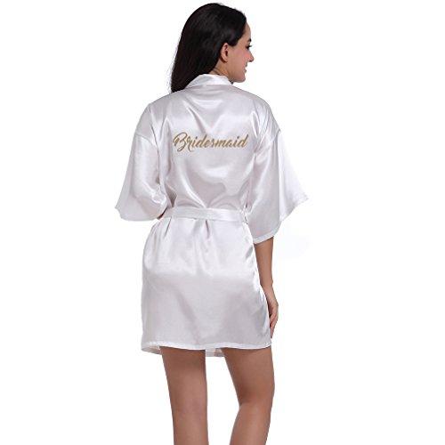 Satin 2l (BOYANN Brautjungfer Morgenmäntel Kimono Satin Damen Bademäntel Nachtwäsche Erotisch, Weiß XXL)