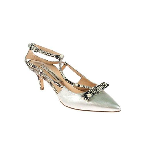 Essedonna Damen Pumps Leder Silber Schlangenmuster, Schuhgröße:39