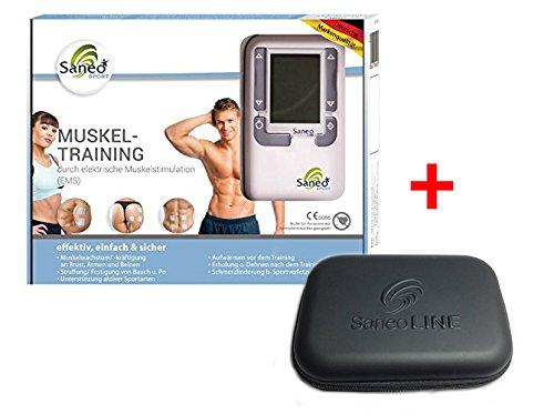 SaneoSPORT Muskeltraining + Case * EMS Gerät * Muskelstimulator * Bauchmuskeltrainer * deutsche Markenqualität * Medizinprodukt