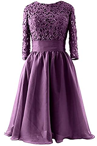 MACloth Women 3/4 Sleeve Lace Short Mother of Bride Dress Formal Evening Gown (58, Eggplant)