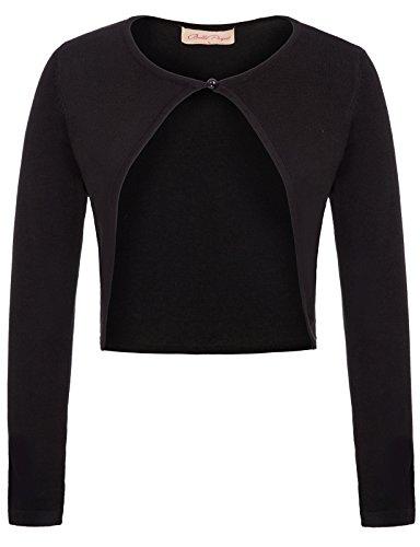 Belle Poque Bolerojacke Damen schwarz Langarm einfach Schulterjacke Strick Bolero XL BP709-1
