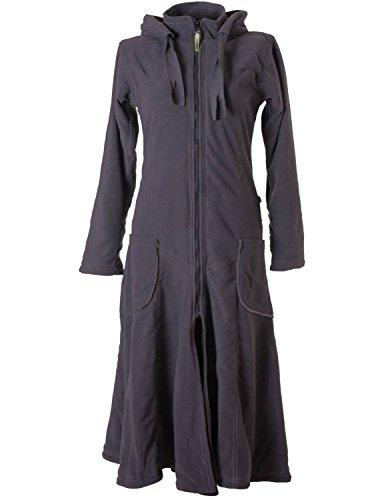 Vishes – Alternative Bekleidung – Langer, Warmer Fleece Mantel mit Zipfelkapuze grau ()