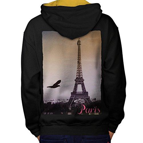 Weiblich Kostüm Frankreich (Paris Liebe Foto Mode Paris Frankreich Symbol Men M Kontrast Kapuzenpullover Zurück |)