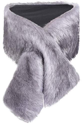 ArtiDeco Damen Kunst Pelz Schal Flauschig Faux Pelz Umschlagtuch Kragen für Wintermantel 1920er Jahre Flapper Accessoires Outfit Warm Zubehör 120 cm lang (Grau Breit)