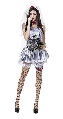 Honeystore Damen's Geisterbraut Kostüm für Halloween Karneval Fasching Kleid mit Schleier Cosplay Set (Konan Cosplay Set)