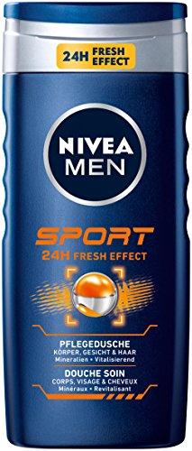 Nivea Men Sport Duschgel für Körper, Gesicht und Haar, 4er Pack (4 x 250 ml)