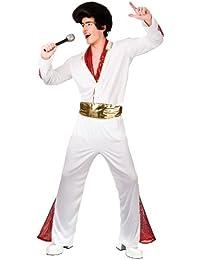 Mens White Vegas King Of Rock N' Roll Fancy Dress Costume