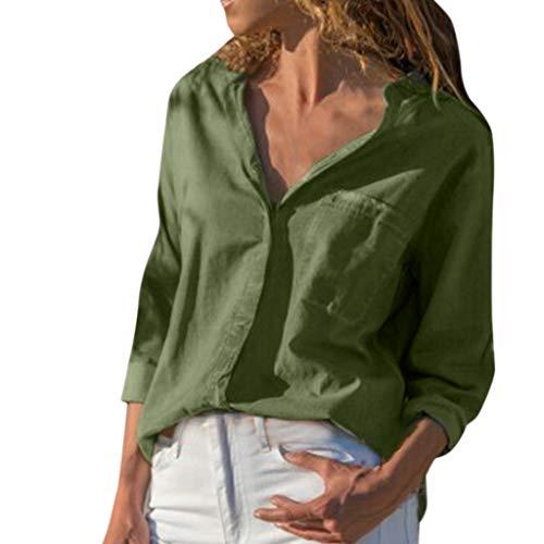 Wawer_Damen Tops,Volltonfarbe Tasche V-Ausschnitt T-Shirt sexy beiläufigen kühlen Sommer und Wild Grün Blouse for Women Blouses for Women elegant Bluse Chiffon Langarm Oberteile Hemd Top -