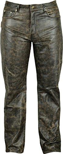 Fuente Vintage Röhren Lederhose lang Herren Damen eng- Lederjeans - Echt Leder Rind, Lederhose Jeans 501- Motorrad Lederhose Lederjeans (46 EU, Schwarz Vintage) -