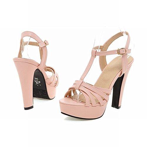 Mee Shoes Damen süß modern Schnalle t-strap open toe Slingback Blockabsatz Plateau Sandalen mit hohen Absätzen Pink