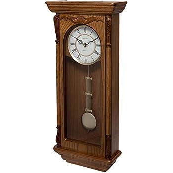 Ams 5245 1 orologio a pendolo radiocontrollato in legno for Orologio legno amazon
