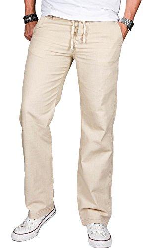 Lange Leichte 100% Baumwolle (A. Salvarini Herren Leinenhose leichte lockere Stoffhose Sommer leinen Hose W29-W40 L30-L34 AS-034 [AS034 - Beige - W40 L32])