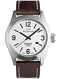 Glycine Incursore Automatic Stainless Steel Mens Strap Watch Silver Dial Calendar 3874.11 LB7BF