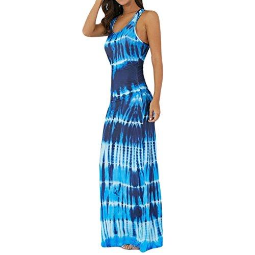 VEMOW Sommer Elegant Damen Ärmellos Bohemian Tie-Dye Illusion Print Racerback Lässig Täglichen Party Urlaub Dance Long Tank Beach Dress(Blau, EU-38/CN-S)