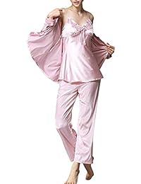 26c386a7580dd Damen Klassische Spitze Seide Pyjama Set Sleepwear Homewear Schlafanzug