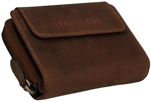 Brown Bear Geldbörse Damen Leder vintage braun Reißverschluss BH 1052