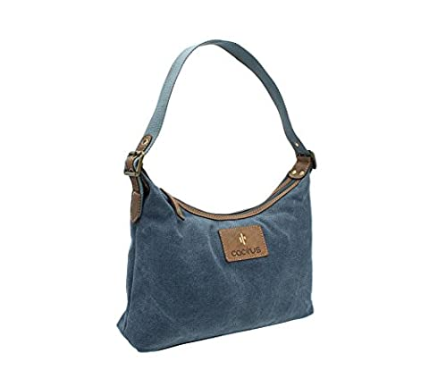 CACTUS Canvas And Distressed Oiled Leather Shoulder Bag CL812_81 Denim