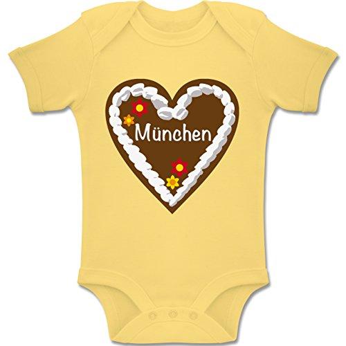 Shirtracer Oktoberfest Baby - Lebkuchenherz München - 1-3 Monate - Hellgelb - BZ10 - Baby Body Kurzarm Jungen Mädchen (Baby Bierflasche Kostüm)
