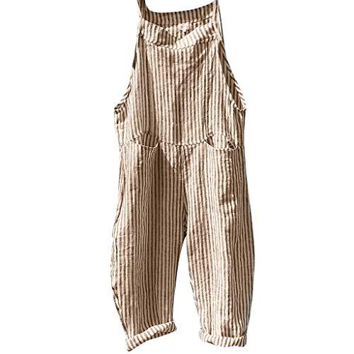 b030638540eb Pantalones de Rayas Mujer SUNNSEAN Moda Mujer Bolsillo Vendaje sin Mangas  Mono de Rayas Body Playsuit Mameluco Anchos Monos de Vestir Mujer Jumpsuits  ...