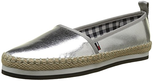 Hilfiger Denim Damen Sporty METALLIC Slip ON Espadrilles, Silber (Silver 000), 40 EU