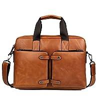 GTOUZ Luggage Bag Briefcase, Laptop Real Cowhide Leather Briefcase Bag 14 Inch Messenger Shoulder Satchel Casual Tote Crossbody Handbag Brown