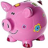 Hucha cerdo piggy bank alcancía rosa con decoración de flores para niños y adultos