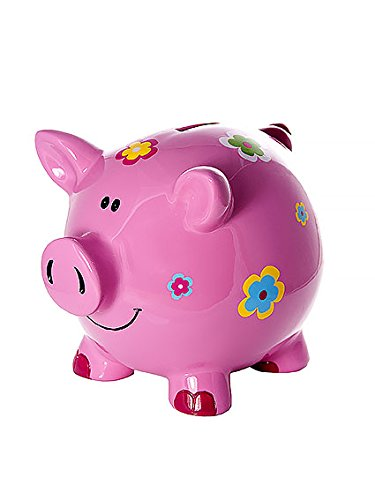 Las niñas grandes huchas infantiles niños bebé adulto cerdito piggy bank rosa con flores