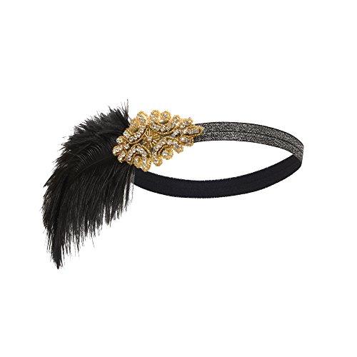 PrettyGuide Damen 1920er Vintage Stirnband Art Deco Charleston Kopfbedeckung Kostüm Gold (1920er Jahren Flapper Paar Kostüm)