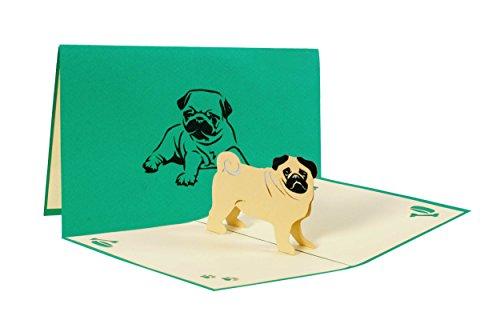 Hundekarte mit Mops, Haustier Geburtstag Gutschein Überraschung (Geburtstagskarte Mit Hund)
