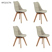 Fanilife Dining Chair Set of 4 Fabric Cushion Side Chairs with Sturdy Metal Legs for Home Kitchen Living Room Restaurant Furniture Cream