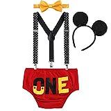 OBEEII Neonato Bambino 4 Pezzi Pantaloncini + Cravatta a Farfalla + Bretelle + Mickey Fascia Abbigliamento Set Costume per Festa Compleanno Carnevale Fotografia Prima Infanzia 6-12 Mesi Rosso