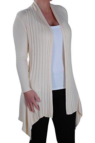 Eye Catch - Denver Mesdames Ouvrir De Face Tricoté Drapée Chute D'Eau Gillet Aux Femmes Crocheter Cardigan Taille Unique Beige
