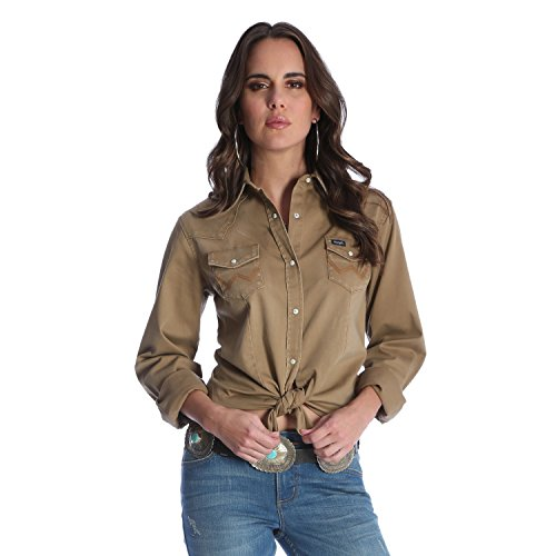 Denim Western-snap (Wrangler Damen Long Sleeve Snap Front Denim Western Shirt Hemd, Rawhide, X-Groß)
