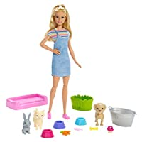 Barbie Play 'n' Wash Pets Playset with Blonde Barbie Doll, 3 Color-Change Animals a Puppy, Kitten and Bunny and 10 Pet and Grooming Accessories, Gift for 3 to 7 Year Olds