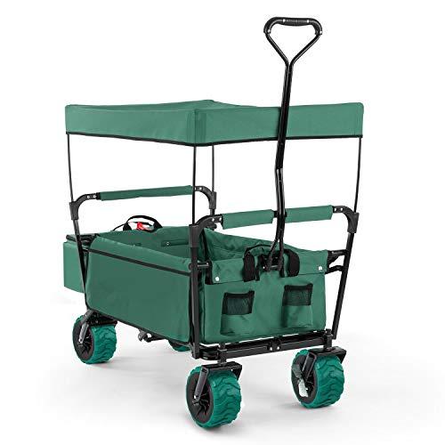 Waldbeck The Green Supreme - Bollerwagen, Handwagen, witterungsbeständig, 68kg Belastbarkeit, Kühltasche, 8 Seitentaschen, pulverbeschichtet, grün