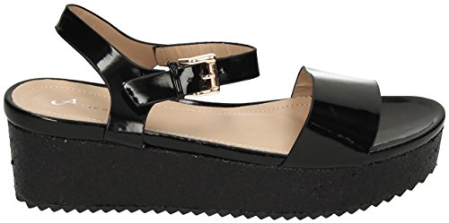 Bey Glitzer Damen Flach Plattform Keil Spitze bis Goth Punk Creepers Schuhe Stiefel sandals- SwankySwans Schwarz