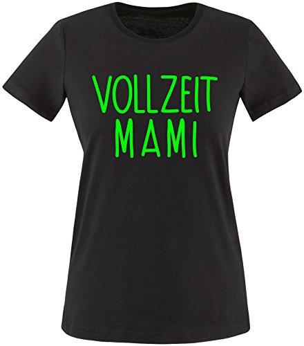 EZYshirt® Vollzeit Mami Damen Rundhals T-Shirt Schwarz/Neongrün