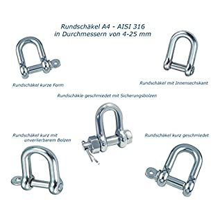 Pauli Edelstahldesign Rundchäkel Edelstahl V4A - AISI316 - A4 Rostfrei auch zum Segeln (Rundschäkel Kurze Form, ø 19)