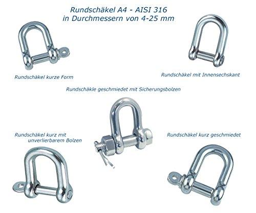 Pauli Edelstahldesign Rundchäkel Edelstahl V4A - AISI316 - A4 Rostfrei auch zum Segeln (Rundschäkel kurz mit unverlierbarem Bolzen, ø 6) -