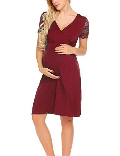 a2ead4623cc0 Unibelle Damen Umstandskleid Spitzenkleid Schwangerschafts Kleid  V-Ausschnitt Mit Kurzarm