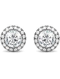 Women Earrings Fashion 925 Sterling Silver Charming Round Zirconia Stud Earrings Jewellery Gift
