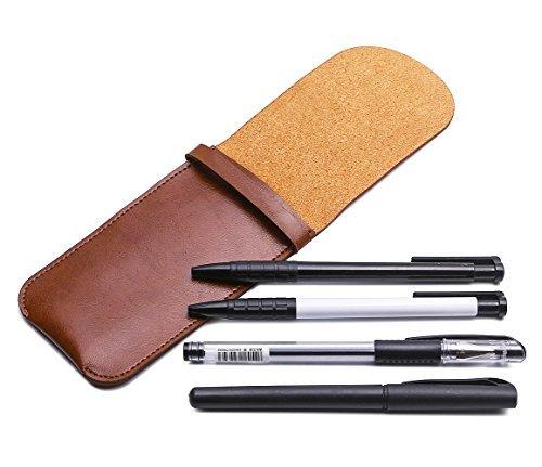 Shuxy Leder Etui Halter Handgemachter Brunnen Multi Pens Beutel Soft Pen Schutz Schutzhülle für Kugelschreiber, Eingabestift-Stift - Braue