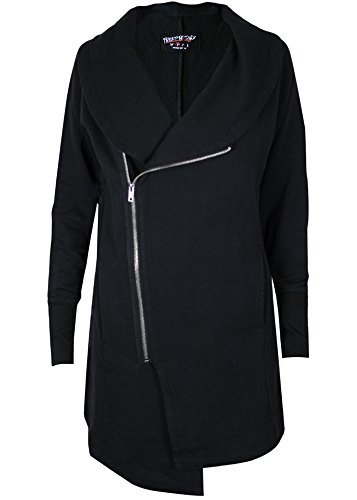 trueprodigy Casual Femme veste sweat uni basique, vetements cool marque vintage (manche longue & slim fit classic), pull sweat zippe mode fashion Couleur: noir 2563112-2999 Black