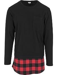 Urban classics shaped pour homme à manches longues en flanelle bottom pocket t-shirt pour homme