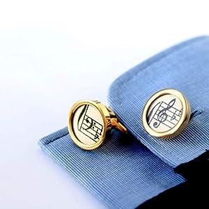 Goldene Manschettenknöpfe I Notenschlüssel I Edelstahl I Hochglanz I Geschenk für ihn I Hochzeit I Valentinstag