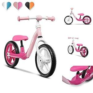 Lionelo Alex-Bicicleta Infantil (hasta 30 kg, sillín y Manillar Ajustables, Ruedas de Espuma EVA, Estructura Robusta, limitación de dirección EN 71, Color Rosa), (PO2019/168)