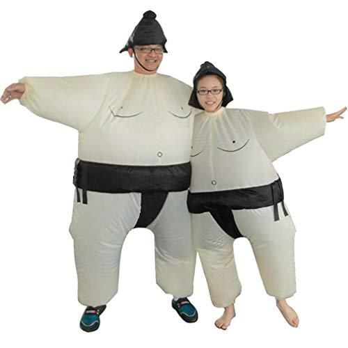 LeoboodeFan Aufblasbares Sumo-Kleid Neuheit Fat Man und Woman Suite Fat Masked Suit Fancy Blow Up Wrestler-Kostüm